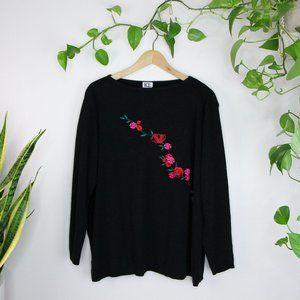 Vintage Embroidered Floral Rose Black Sweater